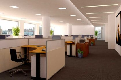 office building with cubicles